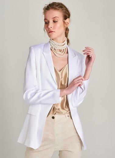 NGSTYLE Saten Ceket Beyaz